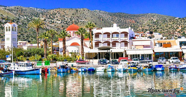 Морской порт курорта Элунды: корабль на Спиналонгу стартует отсюда! Крит, Греция.