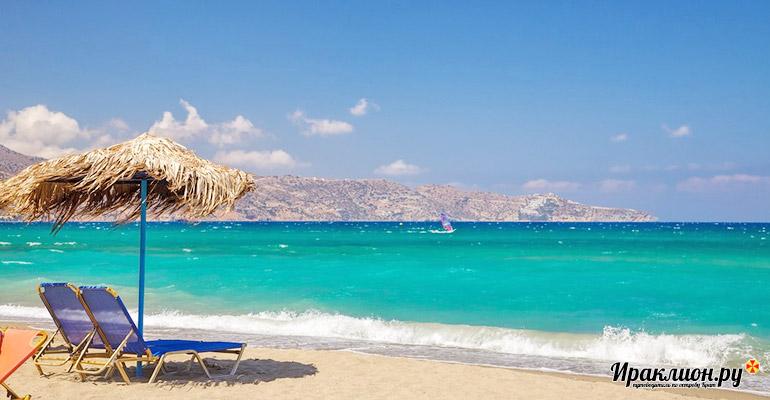 Песчаные пляжи Гурнеса располагают к отдыху у моря. Крит, Греция.