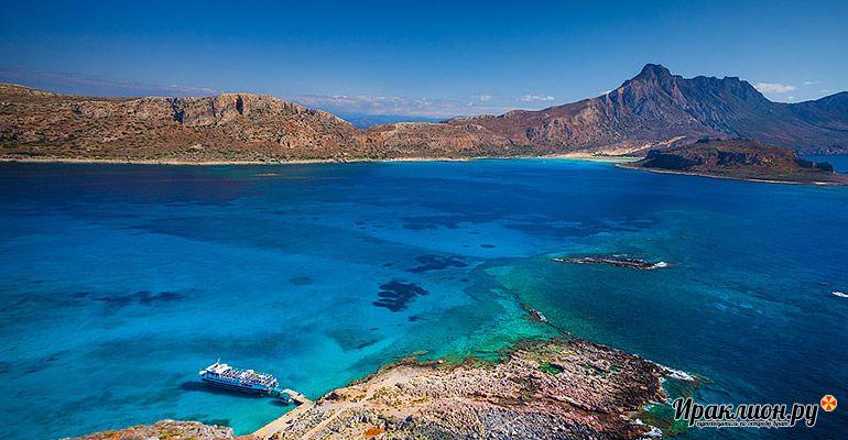 Вид на лагуну с высоты крепости Грамвуса, Крит, Греция