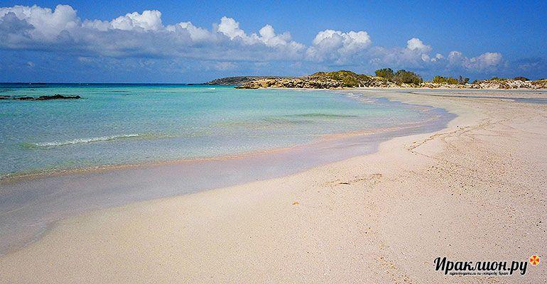 Поездка на пляж с розовым песком Элафониси. Крит, Греция.