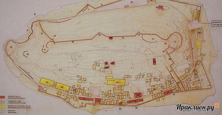 Карта острова Спиналонга и маршрут экскурсии. Крит, Греция.
