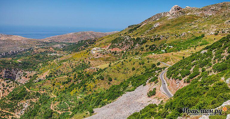 Вид на Критское море с перевала Сели. Крит, Греция.